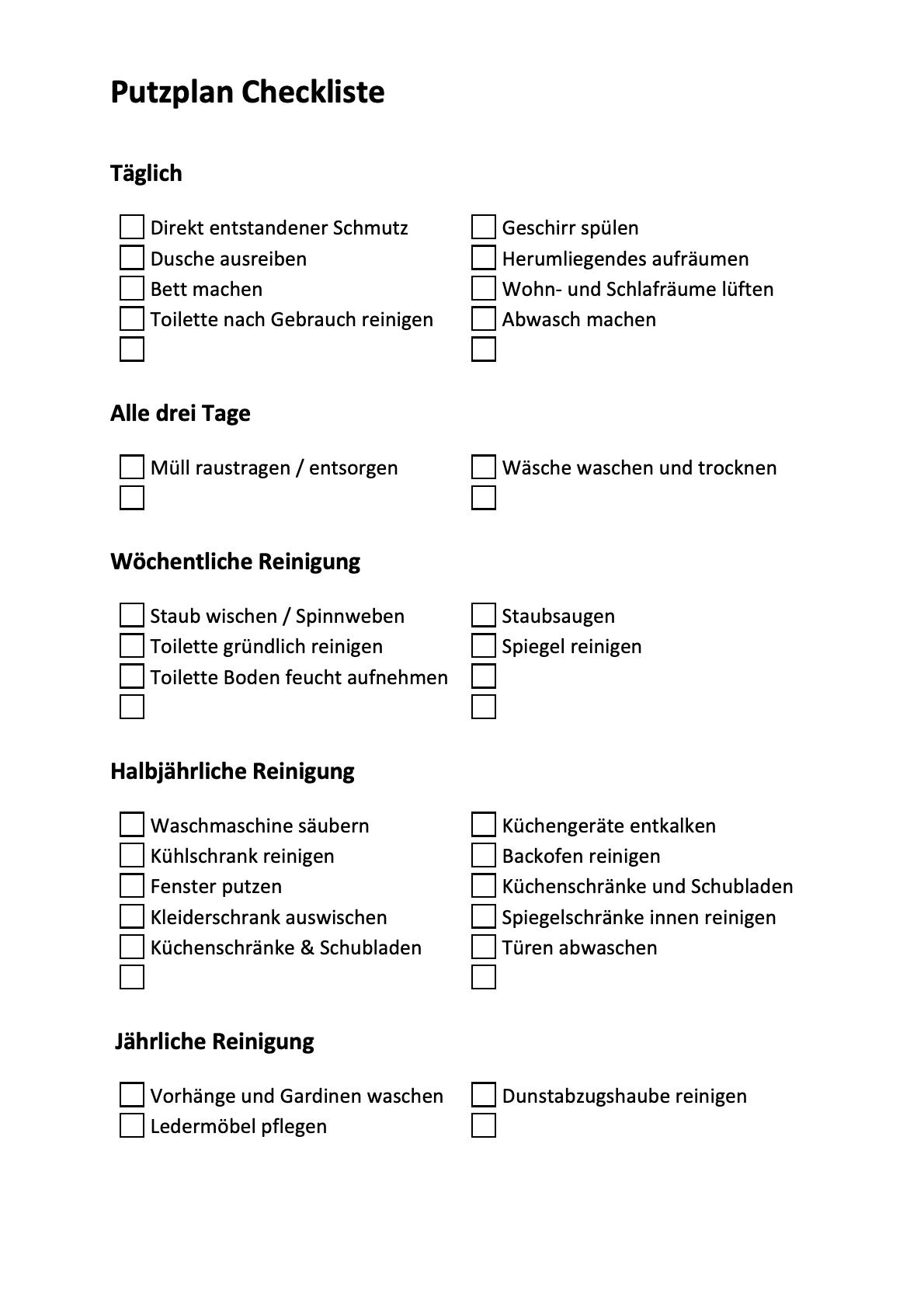 Reinigungsplan Checkliste