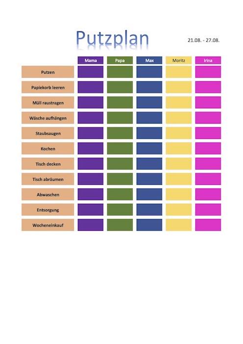 Putzplan Vorlage (für Familien, Paare, WG) – Muster-Vorlage.ch
