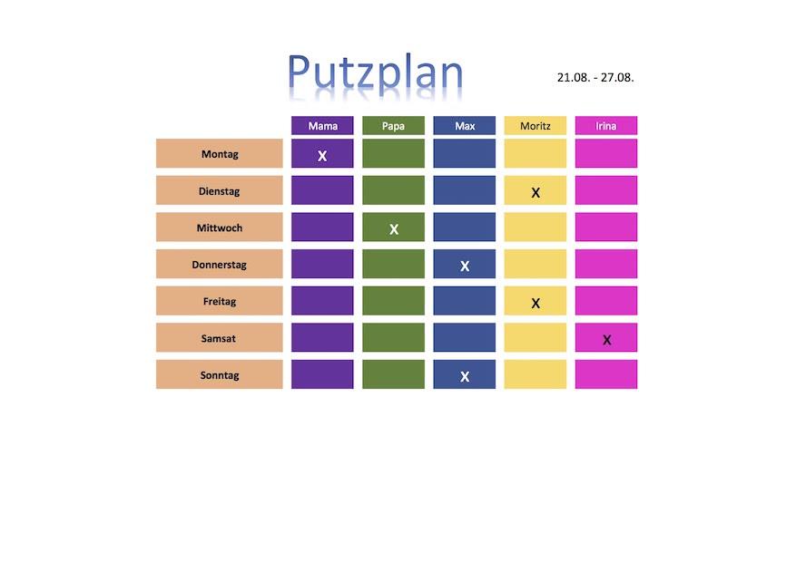 Putzplan Vorlage Familie mit Kinder