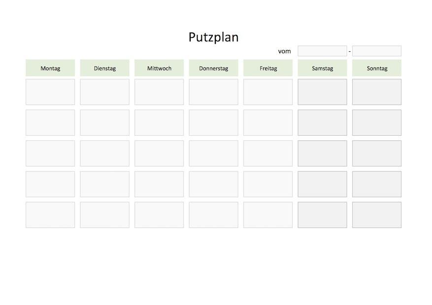 Putzplan Vorlage (für Familien, Paare, WG) | Muster-Vorlage.ch