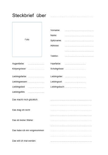 Steckbrief kennenlernen fragen Steckbrief kennenlernen fragen – lustige fragen zum kennenlernen