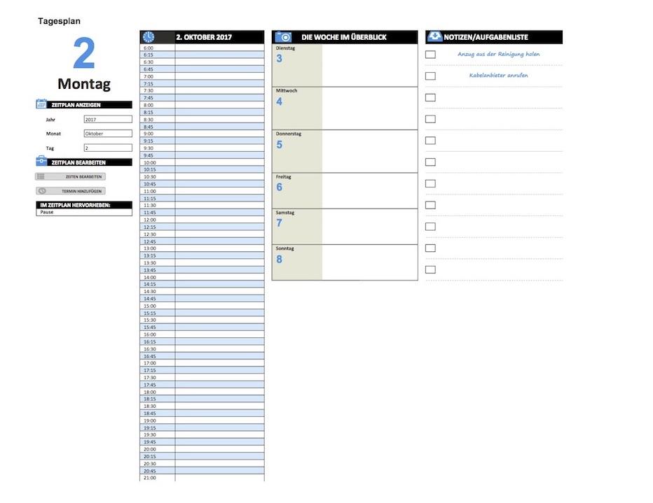 Tagesplaner Vorlage Zum Ausdrucken Excel Muster Vorlage Ch