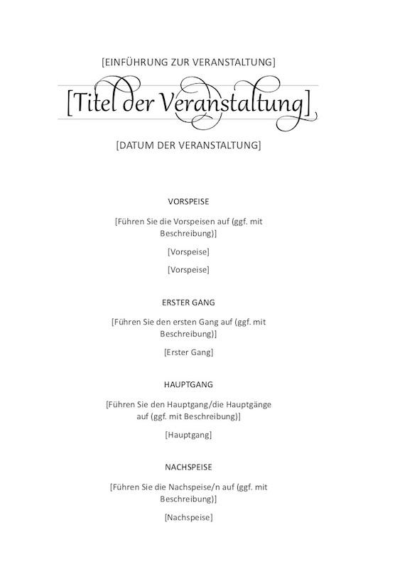 Menükarte Vorlage Word kostenlos – Muster-Vorlage.ch
