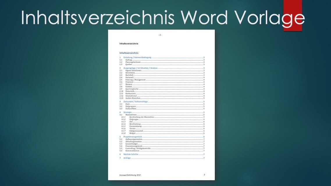 Inhaltsverzeichnis Vorlage Word Kostenlos Downloaden