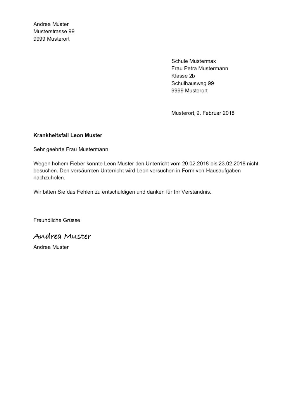 Entschuldigung für die Schule (Vorlage) – Muster-Vorlage.ch