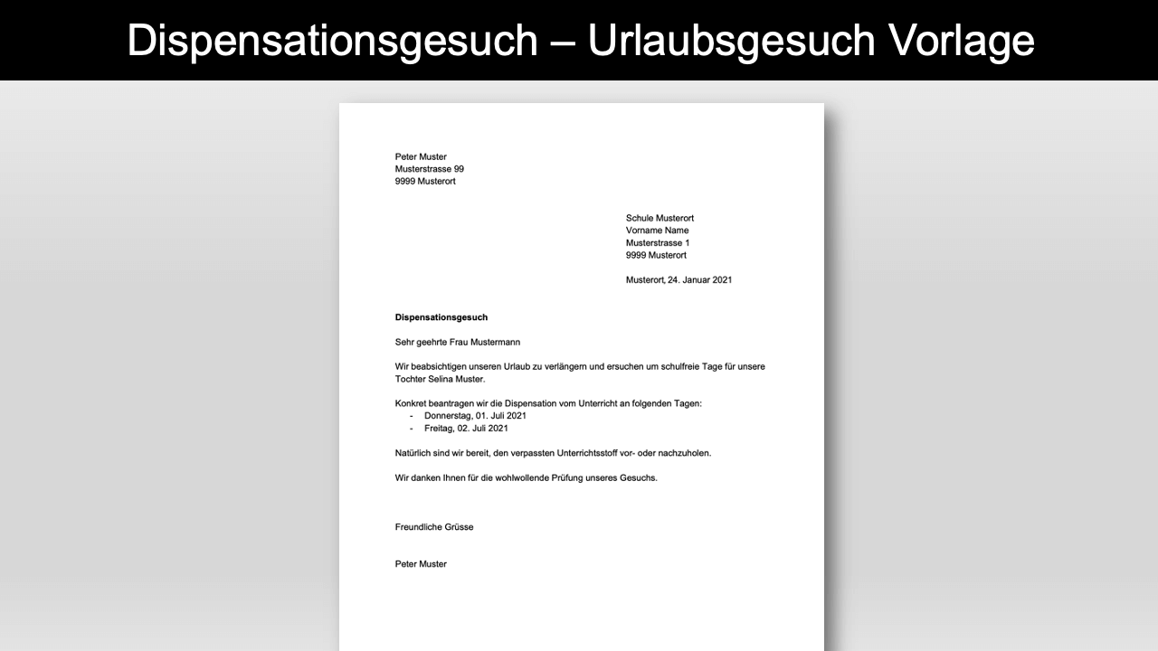 Dispensationsgesuch Vorlage Header