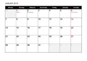 Monatskalender 2019 Schweiz Excel