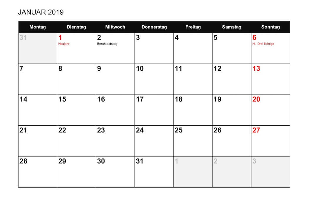Kalender 2019 Schweiz Zum Ausdrucken Als Pdf Vorlagen