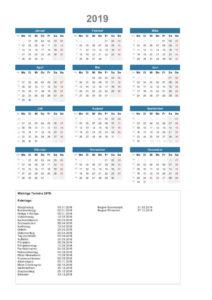 Jahresplaner 2019 Schweiz PDF mit Kalenderwochen und Feiertagen