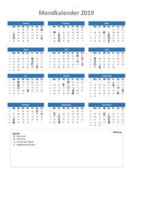 Mondkalender 2019 Schweiz Excel xls