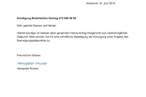 swisscom kndigen gratis vorlage im word format - Muster Kundigung Vertrag