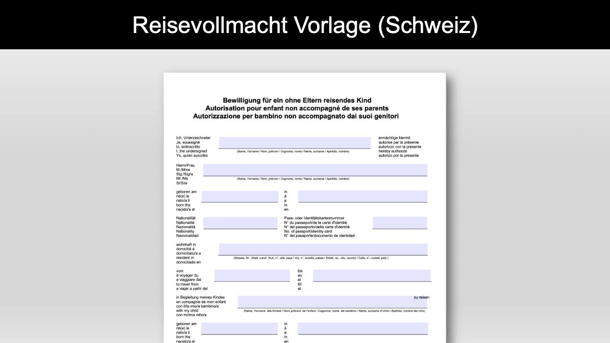 Reisevollmacht Vorlage Schweiz Header
