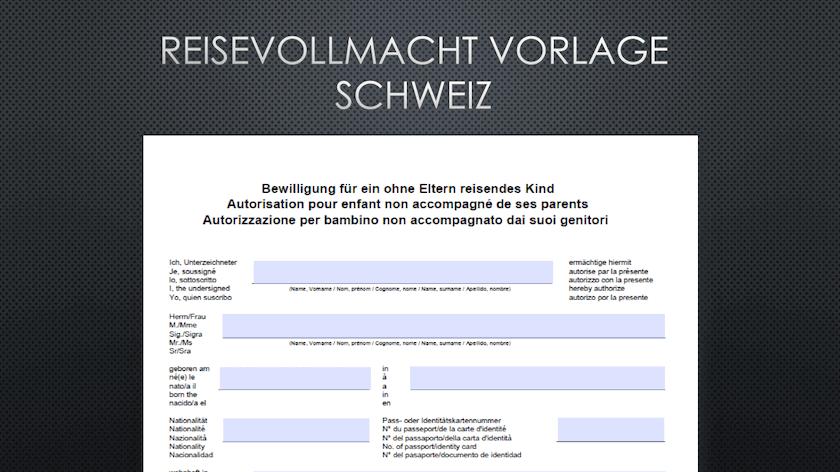 Reisevollmacht Schweiz Vorlage Im Pdf Format Muster Vorlagech