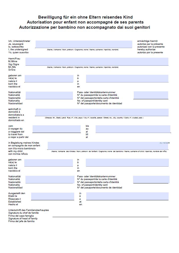 Reisevollmacht Kind - Vorlage Schweiz – Muster-Vorlage.ch