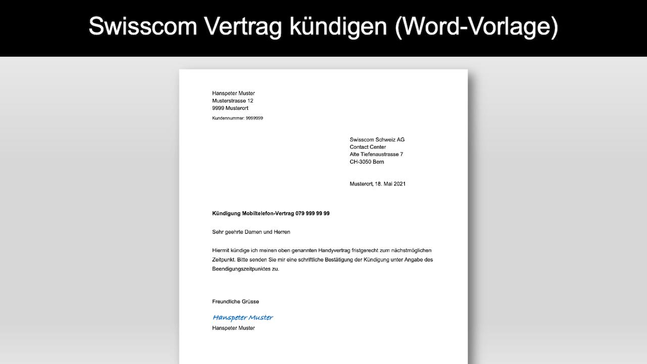 Vorlage Swisscom kündigen Header