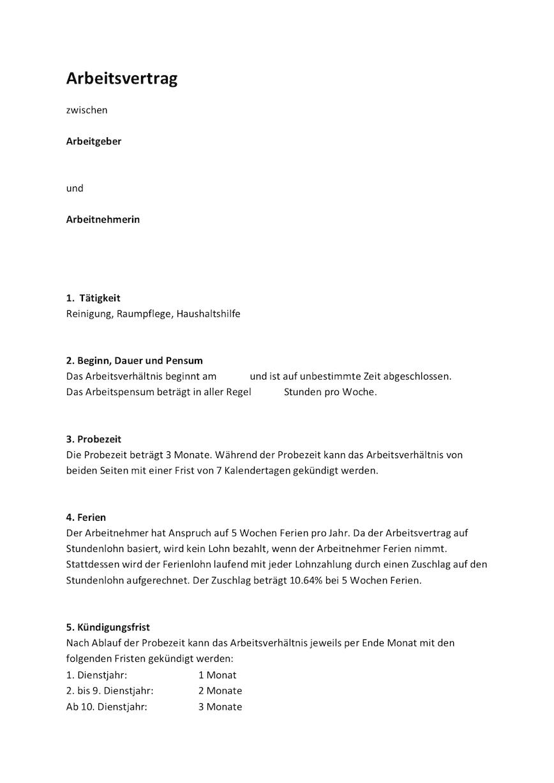 Arbeitsvertrag Putzfrau Vorlage