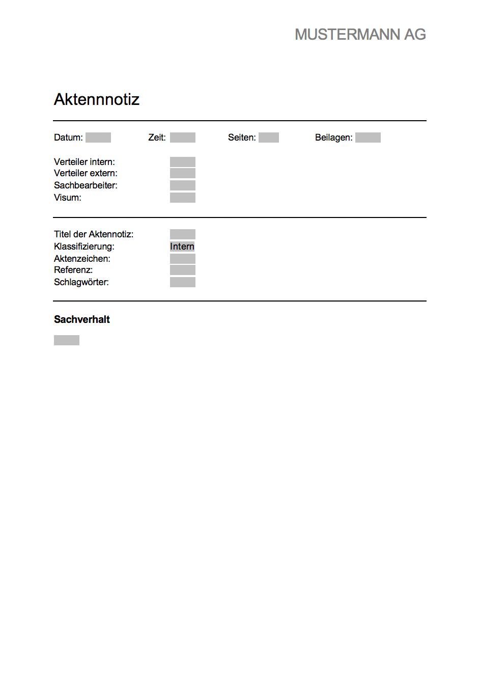 Aktennotiz Vorlage - kostenlose Word-Vorlage | Muster-Vorlage.ch