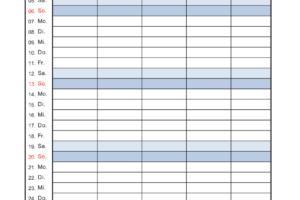 Familienkalender 2019 Excel