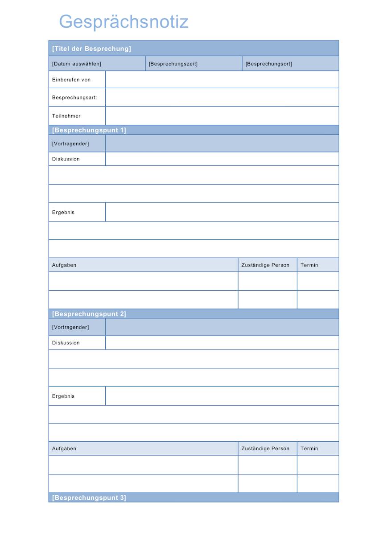 Gesprächsnotiz Vorlage Word Format Muster Vorlagech