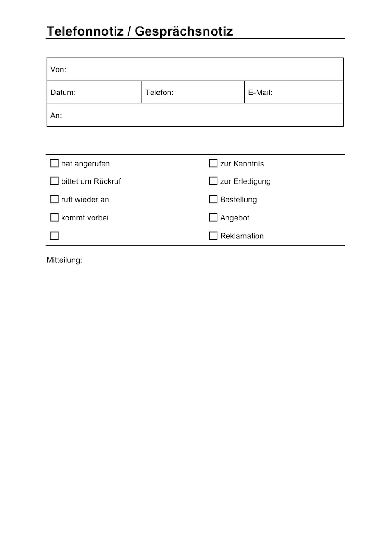 Formular Fur Eine Aktennotiz Formular Business Wissen De 12