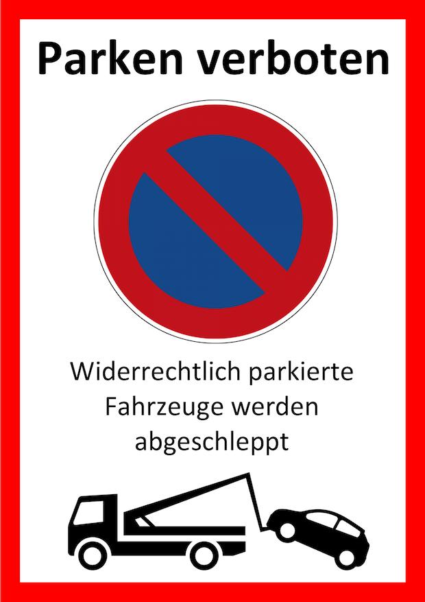 Parken verboten Schild 2