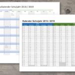 Schulkalender 18/19 Schweiz (Excel & PDF)