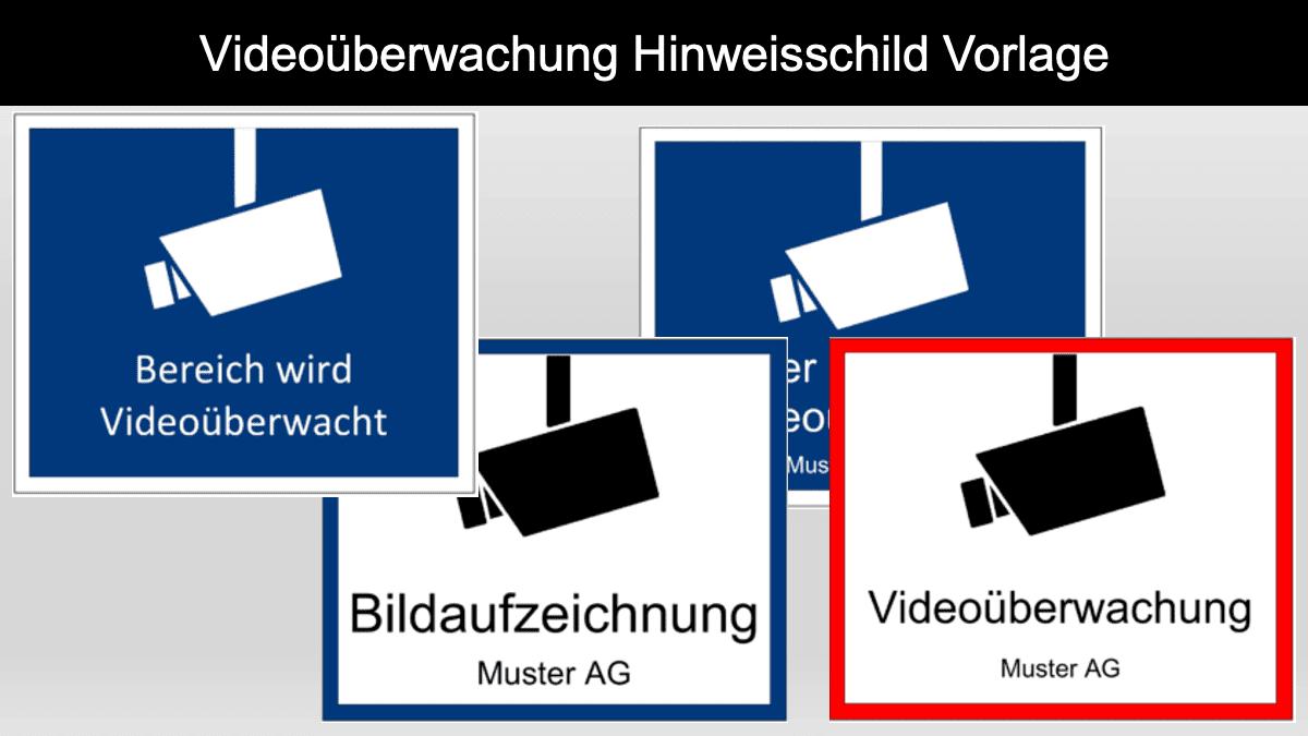 Videoüberwachung Schild Vorlage Header