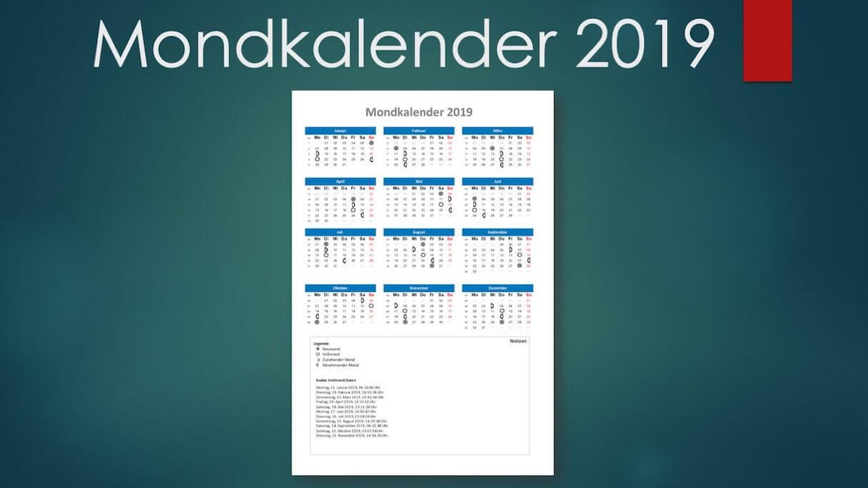 Vollmondkalender 2019 Schweiz