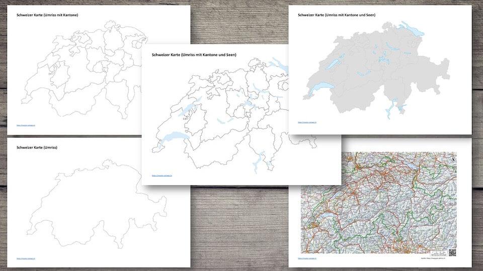 Schweizer Karte zum Ausdrucken