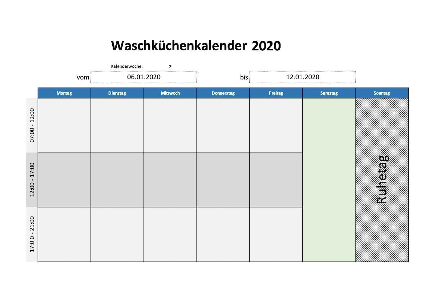 Waschküchenplan Kalender