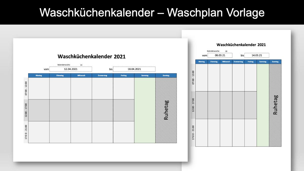 Waschplan Vorlage Waschküchenkalender Header