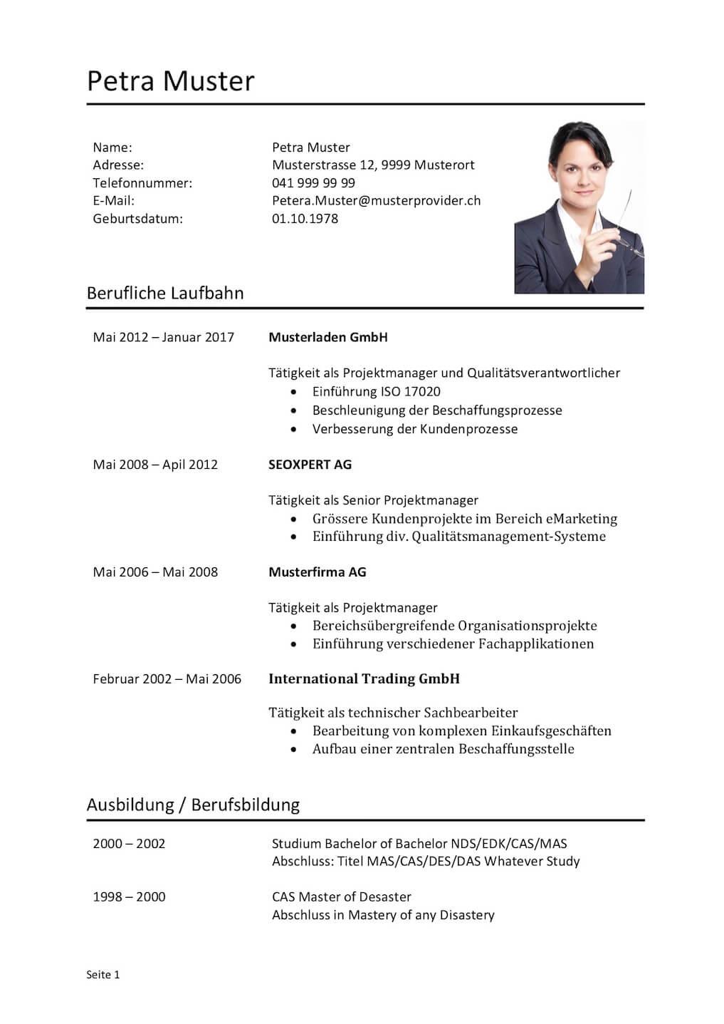 Kurzprofil Lebenslauf Vorlage (Word) | Muster-Vorlage.ch