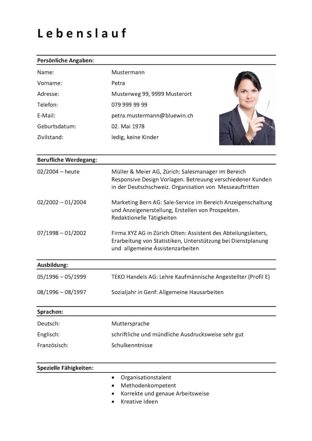 marieluisevonundzumaeusschen: Lebenslauf Vorlage Deutsch ...
