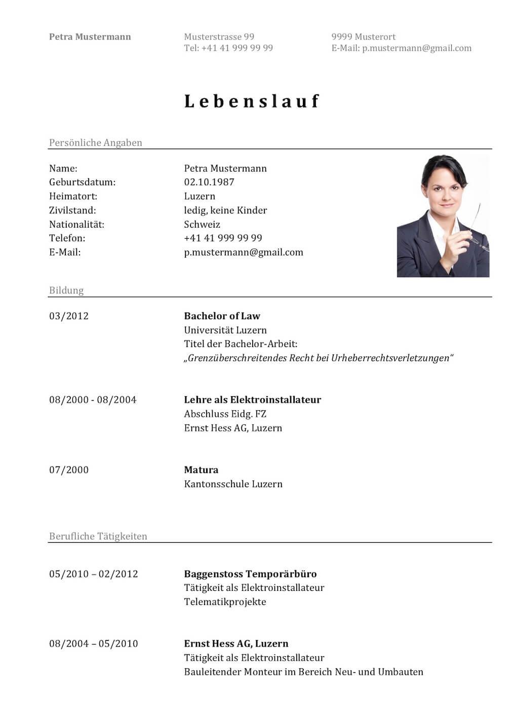 Tabellarischer Lebenslauf Vorlage | Muster-Vorlage.ch