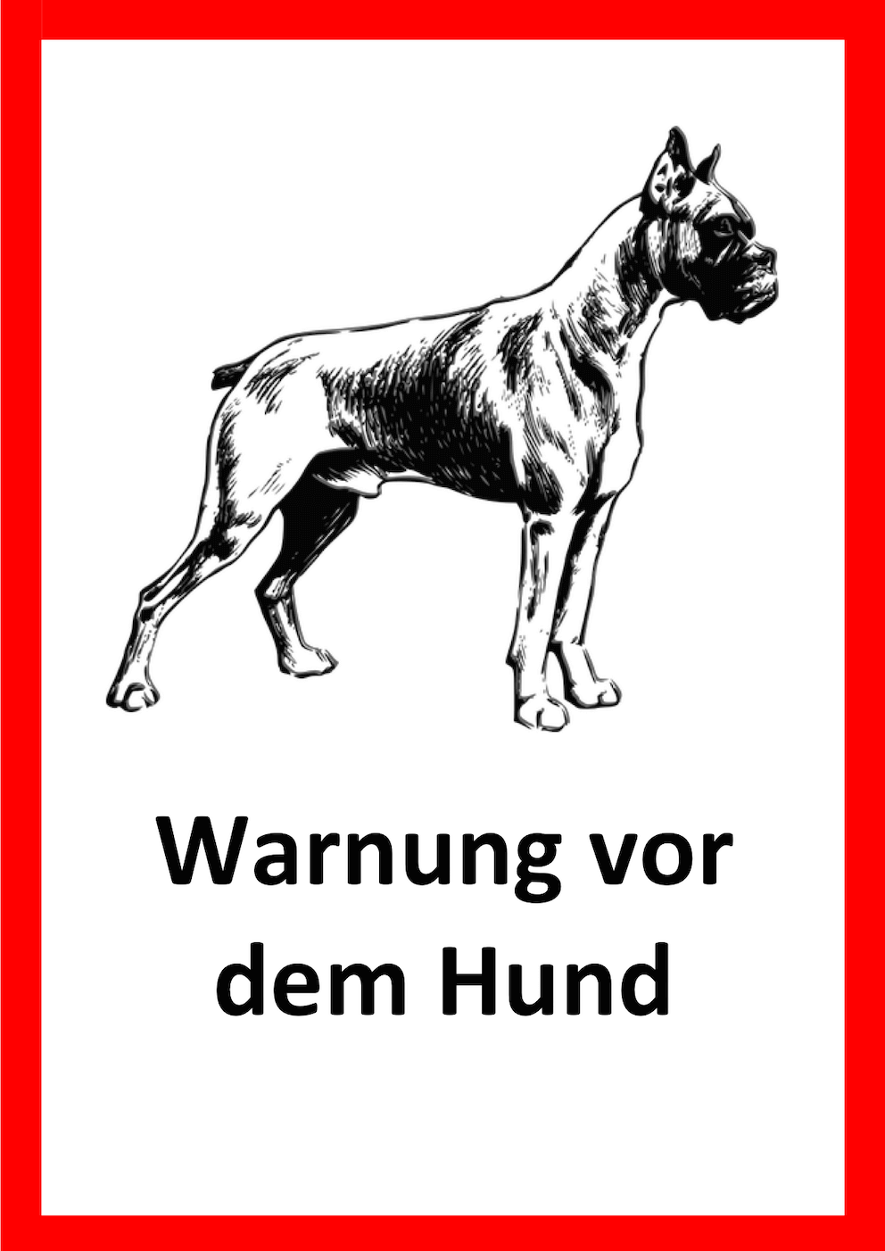 Warnung vor dem Hunde Schild Vorlage 1