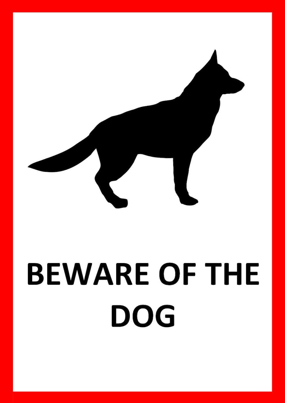 Beware of the Dog Schild Vorlage