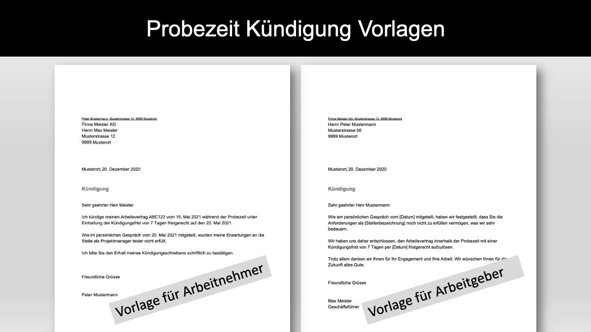 Kündigung Probezeit Vorlage Schweiz