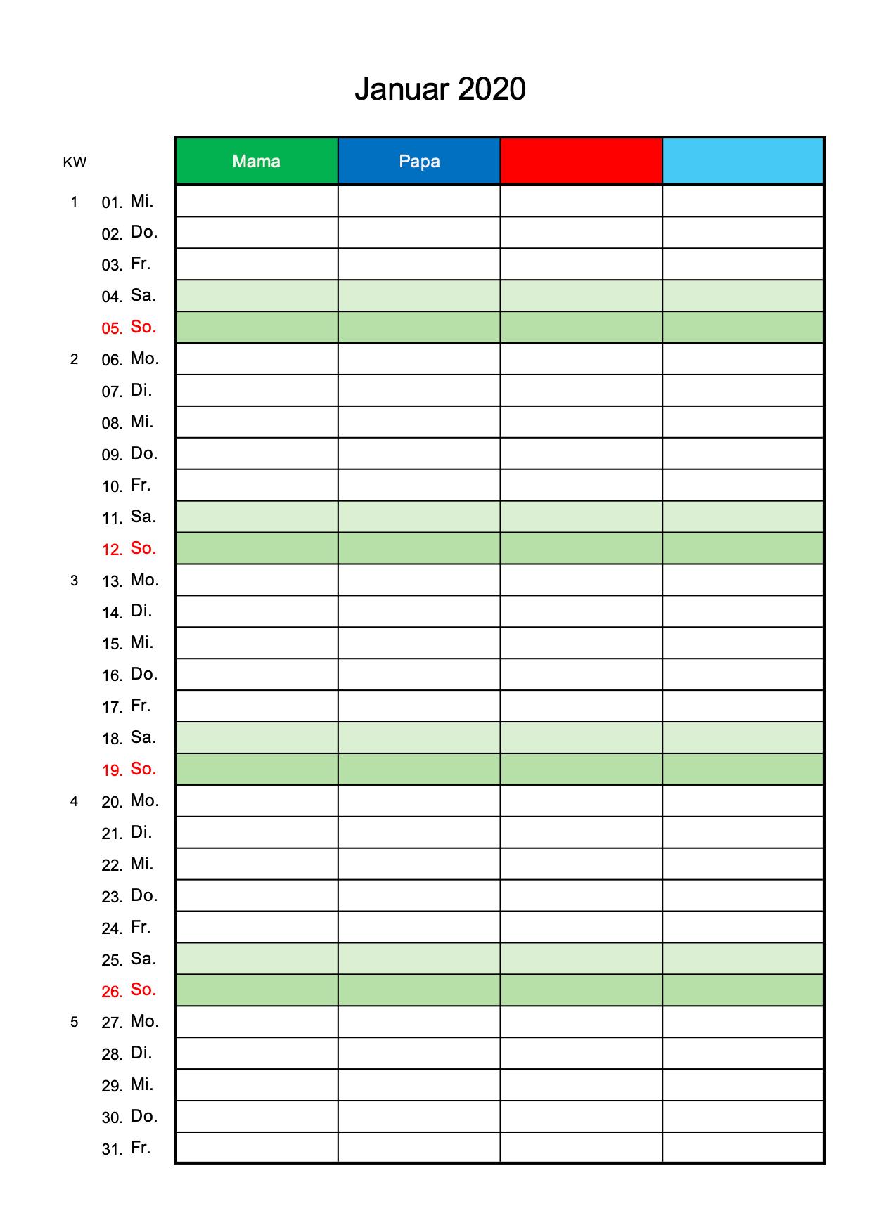 Familienkalender 2020 4 Spalten (Excel)