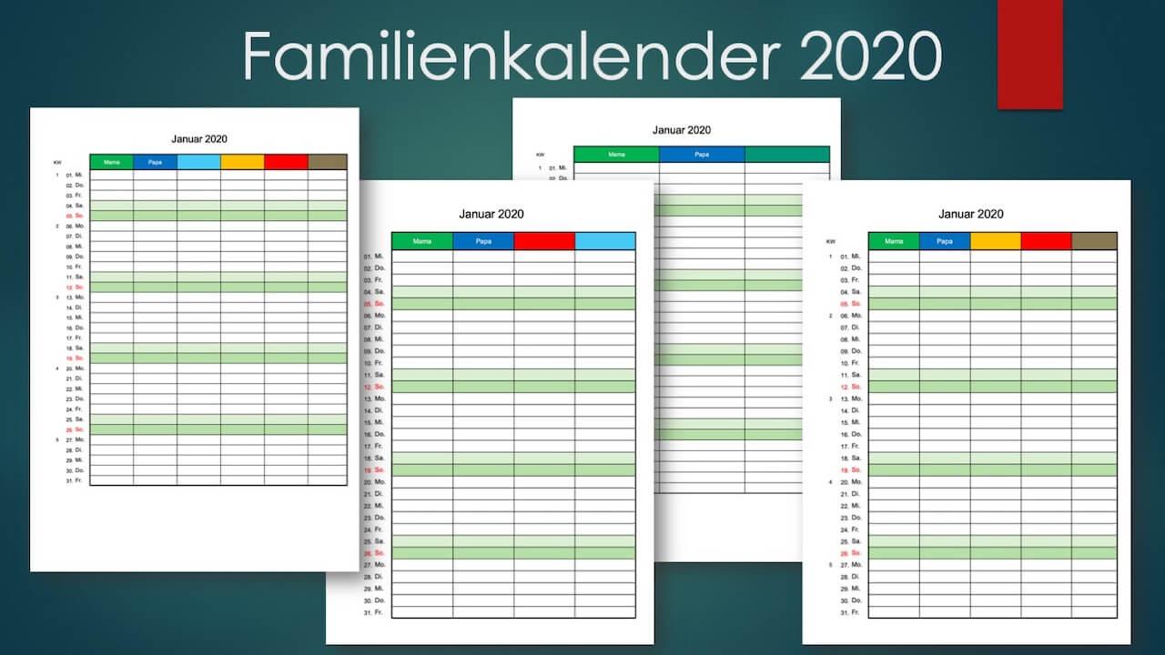 Familienkalender 2020 Familienplaner Excel Muster Vorlage Ch