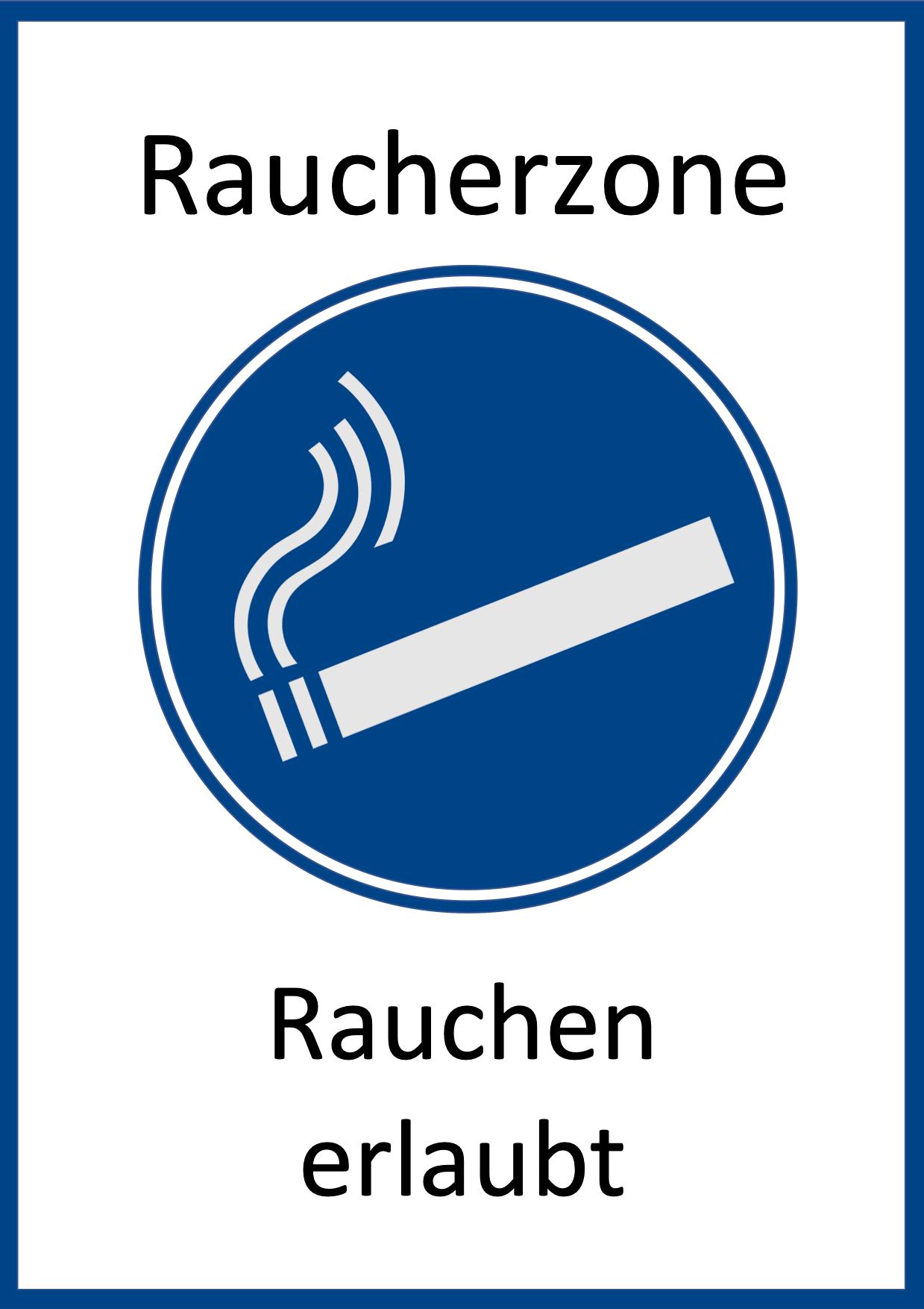 Schild Raucherzone zum Ausdrucken