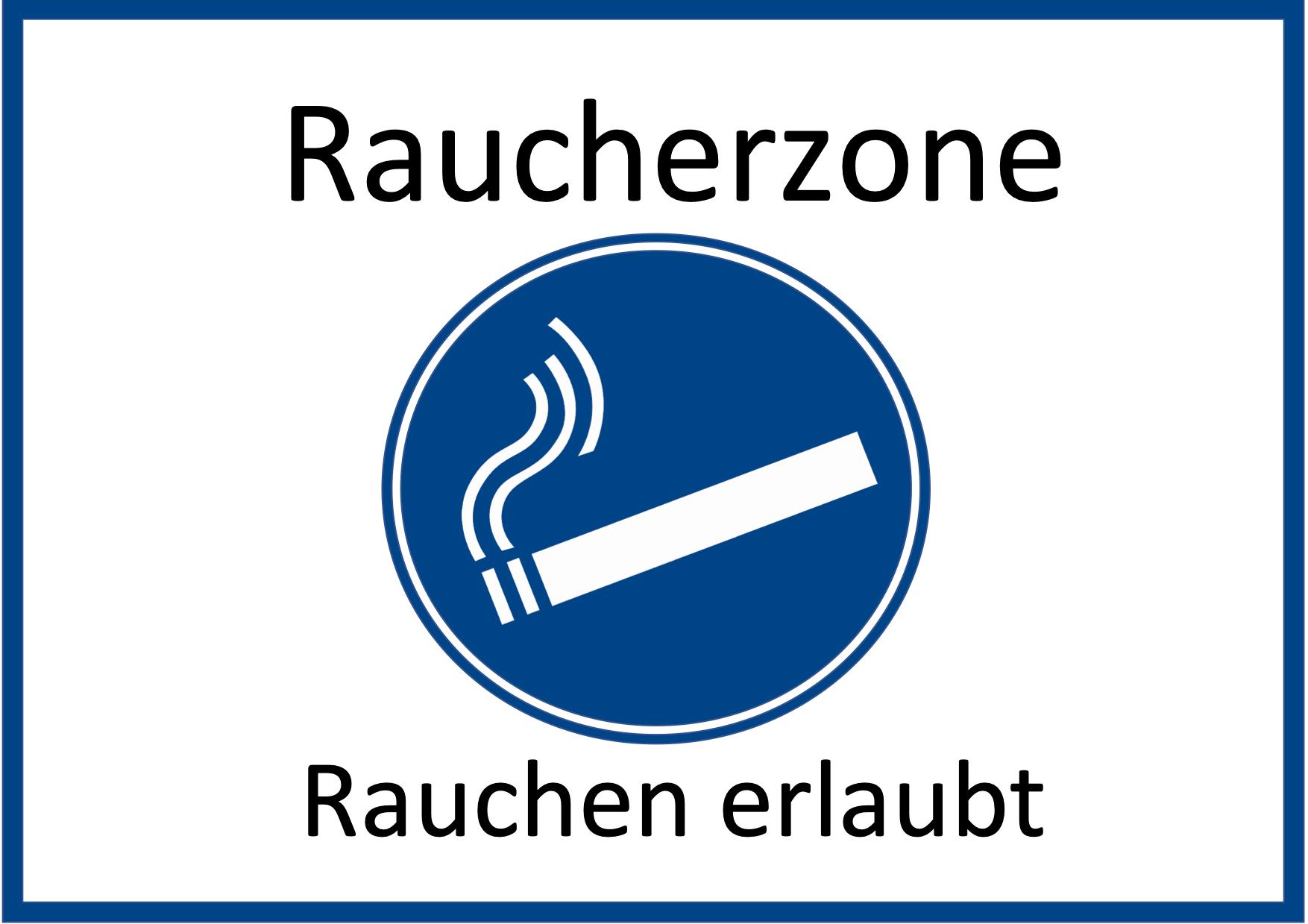 Schild Raucherzone Querformat