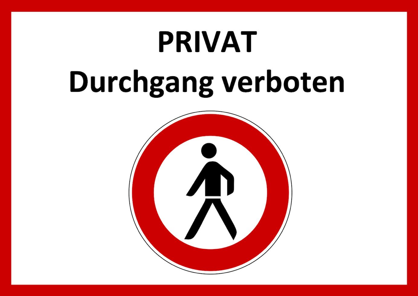 Durchgang verboten Schild zum Ausdrucken (gratis) | Muster ...
