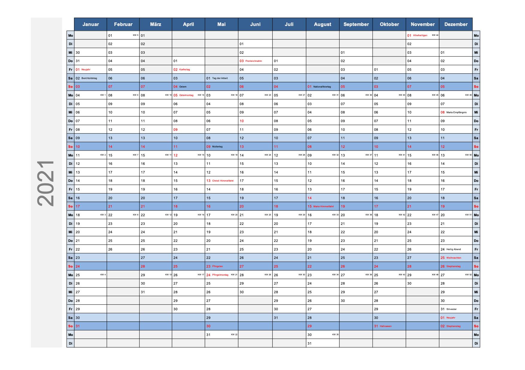 Kalender 2021 Schweiz Excel PDF