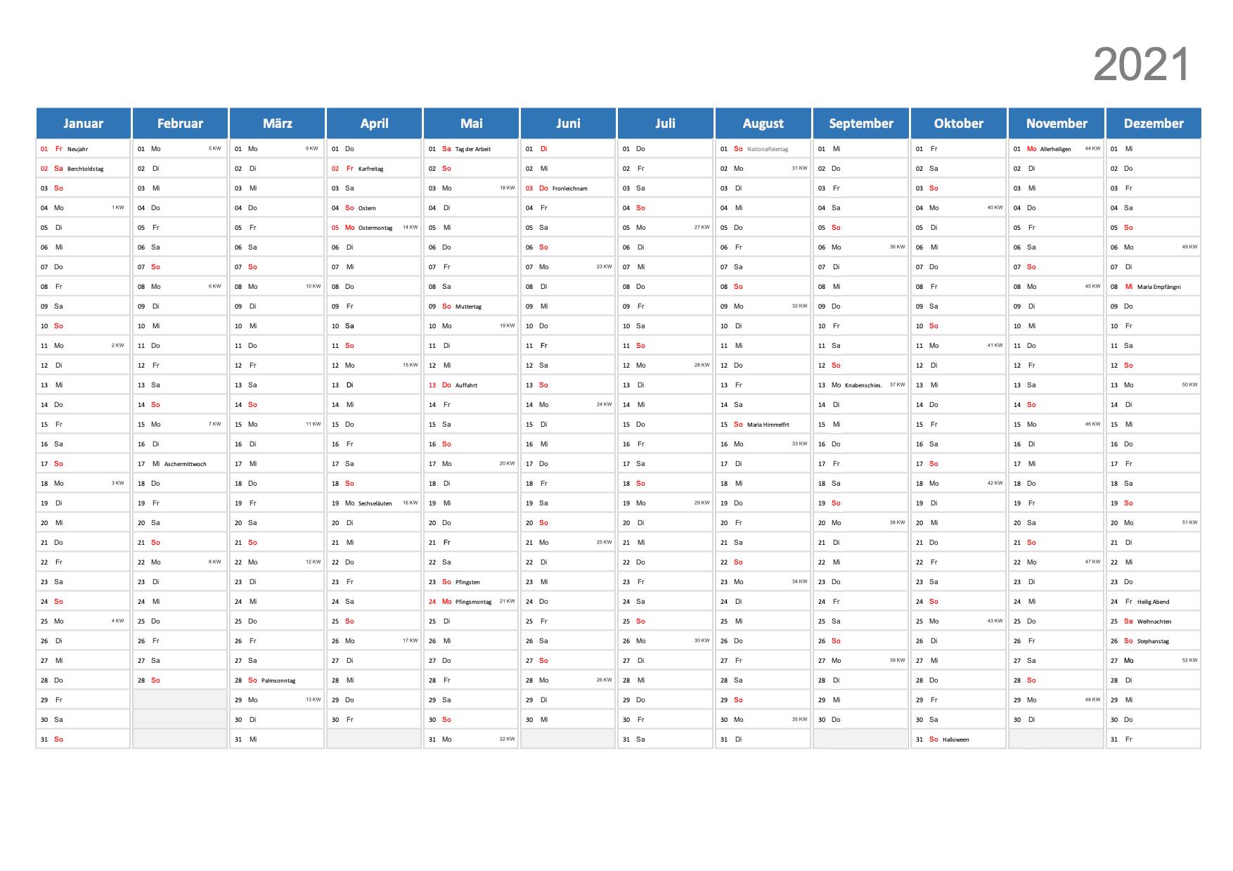 Jahreskalender 2021 Schweiz Excel zum Ausdrucken