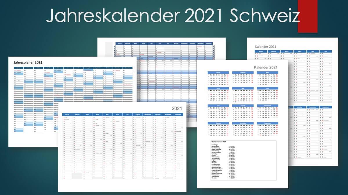 Jahreskalender 2021 Schweiz Header