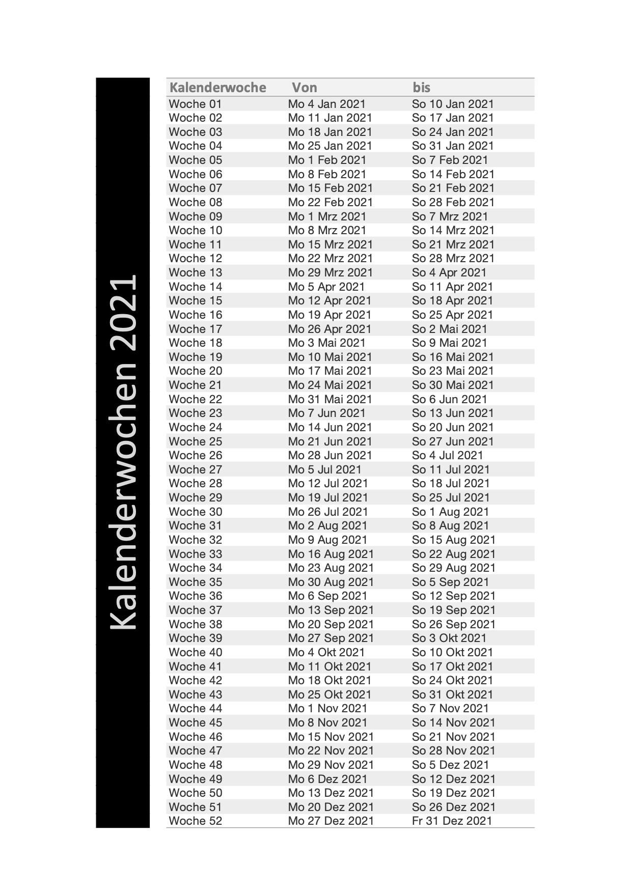 Kalenderwochen 2021 Schweiz