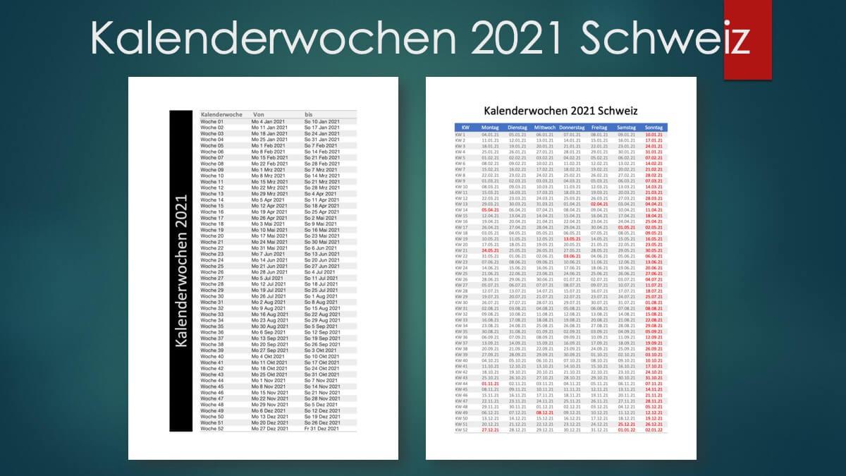 Kalenderwochen 2021 Schweiz Header