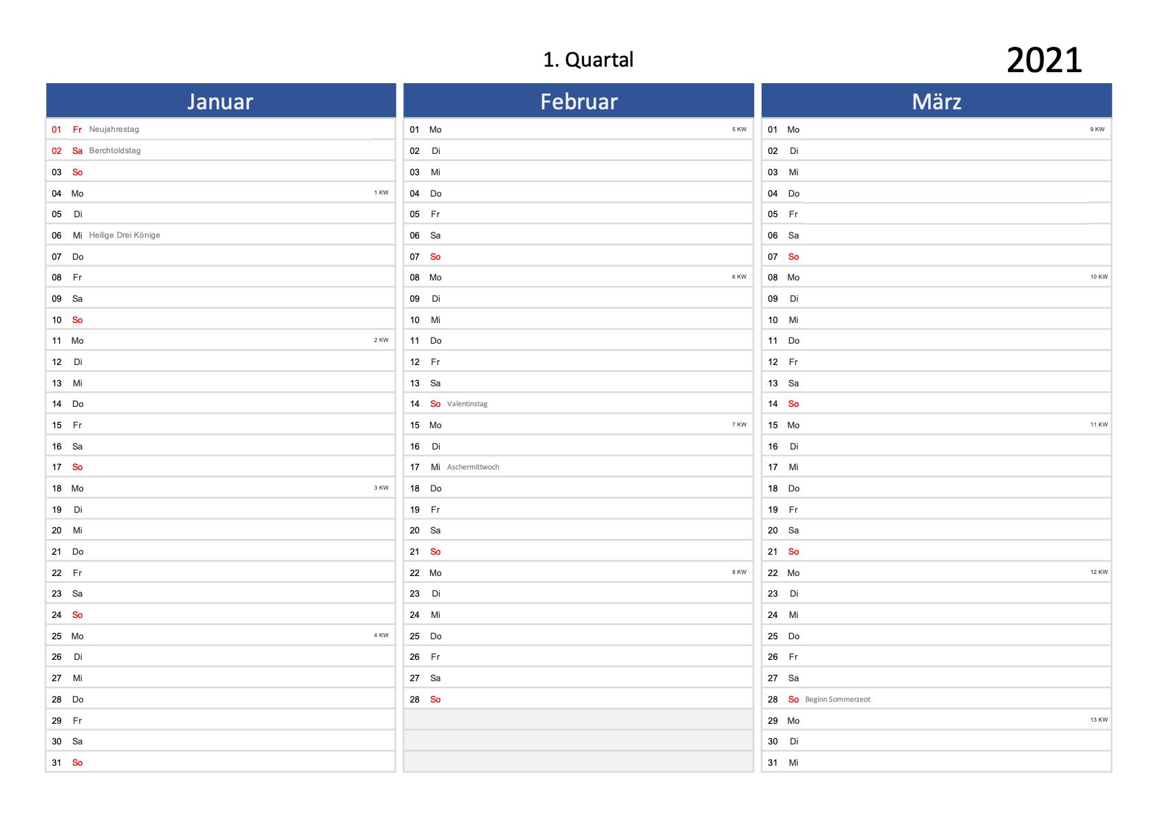 Schweizer Quartalskalender 2021 zum Ausdrucken Excel PDF