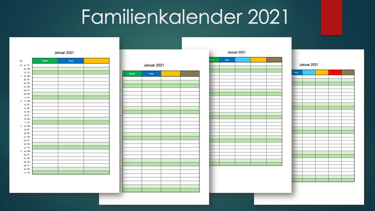 Familienkalender 2021 Schweiz zum Ausdrucken Header