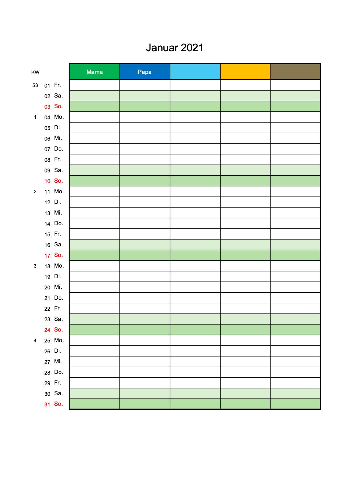 Familienkalender 2021 mit 5 Spalten